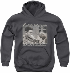 Andy Griffith youth teen hoodie Wise Words charcoal