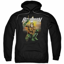 Aquaman pull-over hoodie Beach Sunset adult black