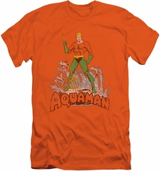 Aquaman slim-fit t-shirt Distressed mens orange