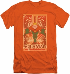 Aquaman slim-fit t-shirt Portrait mens orange