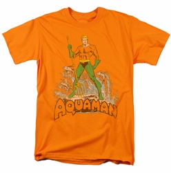 Aquaman t-shirt Distressed mens orange