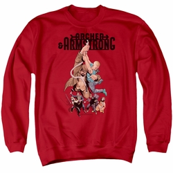 Archer & Armstrong adult crewneck sweatshirt Hang In There red
