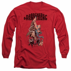 Archer & Armstrong adult long-sleeved shirt Hang In There red