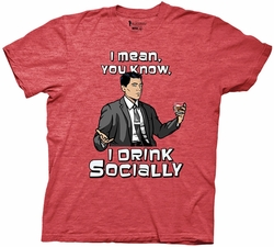 Archer I Drink Socially adult mens t-shirt pre-order