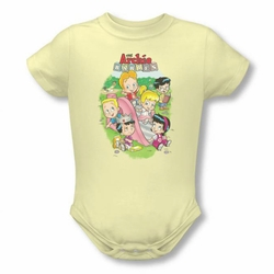 Archie Babies snapsuit Time To Play soft yellow