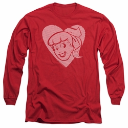 Archie Comics adult long-sleeved shirt Betty Hearts red
