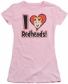 Archie Comics juniors sheer t-shirt I Love Redheads pink
