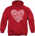 Archie Comics pull-over hoodie Betty Hearts adult red