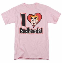Archie Comics t-shirt I Love Redheads mens pink