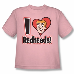 Archie Comics youth teen t-shirt I Love Redheads pink