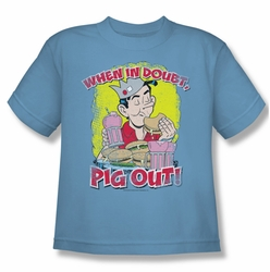 Archie Comics youth teen t-shirt Pig Out carolina blue