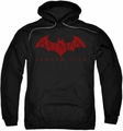 Arkham City pull-over hoodie Red Bat adult black