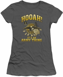 Army juniors sheer t-shirt Hooah charcoal
