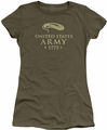Army juniors sheer t-shirt We'll Defend military green