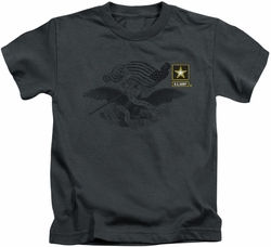 Army kids t-shirt Left Chest charcoal