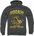Army pull-over hoodie Hooah adult charcoal