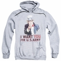 Army pull-over hoodie I Want You adult athletic heather