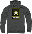 Army pull-over hoodie Logo adult charcoal