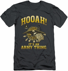 Army slim-fit t-shirt Hooah mens charcoal
