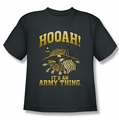 Army youth teen t-shirt Hooah charcoal