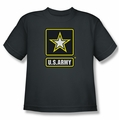 Army youth teen t-shirt Logo charcoal