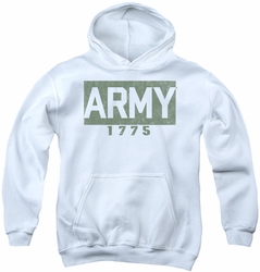 Army youth teen hoodie Block white