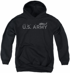Army youth teen hoodie Helicopter black