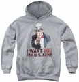 Army youth teen hoodie I Want You athletic heather