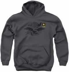 Army youth teen hoodie Left Chest charcoal