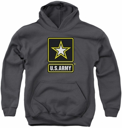 Army youth teen hoodie Logo charcoal