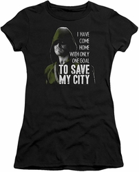Arrow TV Show on CW juniors t-shirt Save My City black