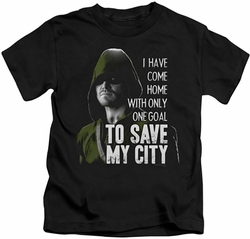Arrow TV Show on CW kids t-shirt Save My City black