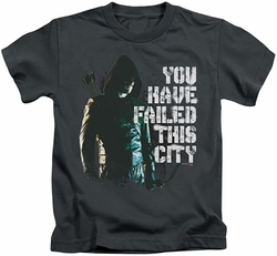 Arrow TV Show on CW kids t-shirt You Have Failed charcoal