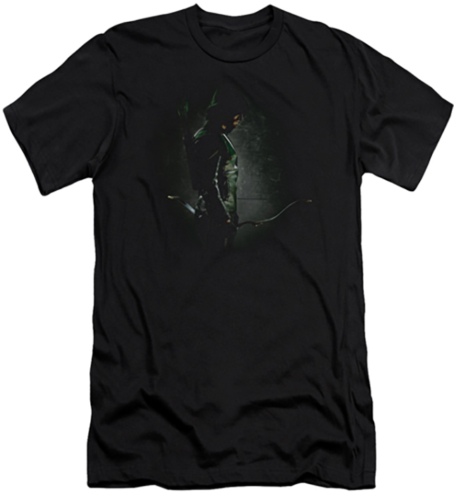 Arrow Tv Show On Cw Slim Fit T Shirt In The Shadows Mens Black