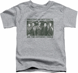 Arrow TV Show on CW toddler t-shirt Not Guilty athletic heather