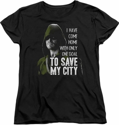 Arrow TV Show on CW womens t-shirt Save My City black