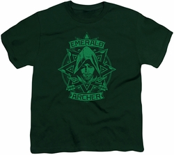 Arrow TV Show on CW youth teen t-shirt Archer Illustration hunter green