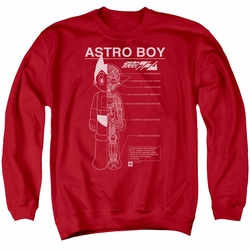 Astro Boy adult crewneck sweatshirt Schematics red