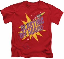 Astro Pop kids t-shirt Blast Off red