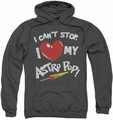 Astro Pop pull-over hoodie I Heart adult charcoal