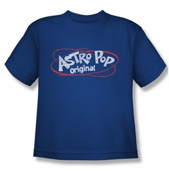 Astro Pop youth teen t-shirt Vintage Logo royal blue