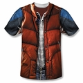 Back to the Future front sublimation t-shirt Mcfly Vest short sleeve White