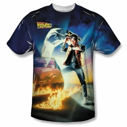 Back to the Future front sublimation t-shirt Movie Poster short sleeve White