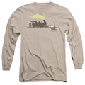 Back To The Future III adult long-sleeved shirt Pushing The Delorean sand