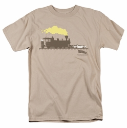 Back To The Future III t-shirt Pushing The Delorean mens sand