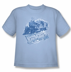 Back To The Future III youth teen t-shirt Time Train light blue