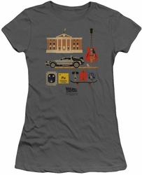 Back To The Future juniors t-shirt Items charcoal