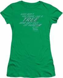 Back To The Future juniors t-shirt Make Like A Tree kelly green