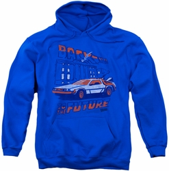 Back To The Future pull-over hoodie Lightning Strikes adult royal blue