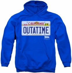 Back To The Future pull-over hoodie Outatime Plate adult royal blue